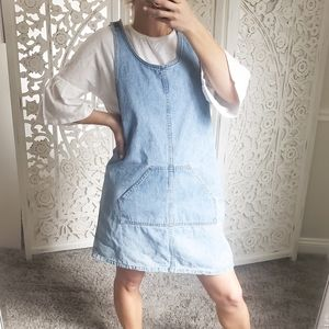 Vintage Chambray Denim Overall Dress L/XL